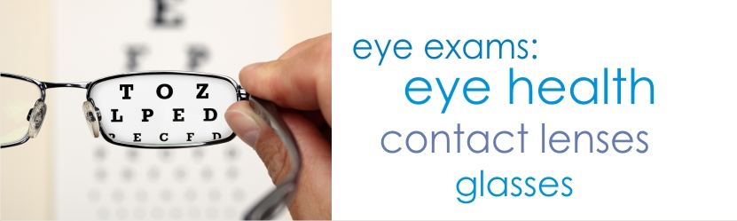 eye examinations for eye health, contact lens fitting or eyeglasses